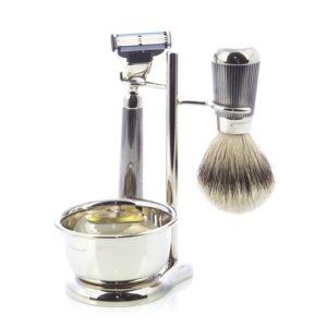 Set da Barba in Metallo con Pennello in Puro Tasso