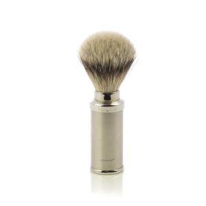 Pennello da Barba in Tasso Argentato con finitura in Acciaio Satinato