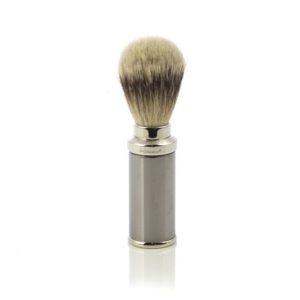 Pennello da Barba in Tasso Argentato con finitura in Acciaio Cromato