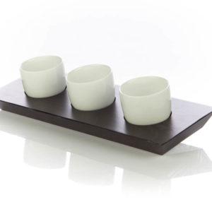 Set 3 Ciotole in Porcellana con base in Legno