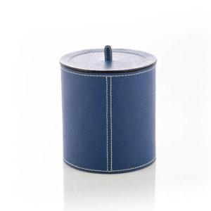 Barattolo in cuoio blu con coperchio