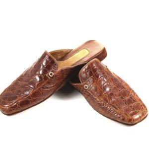Pantofole in vero pelle di coccodrilllo color whisky tg.43