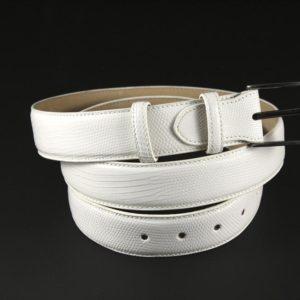 Cintura in Vera Pelle di Lucertola colore bianca