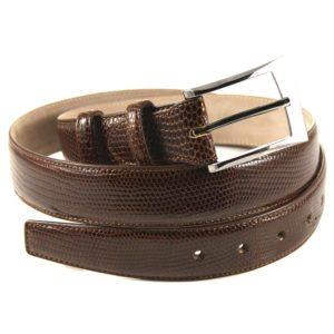 Cintura in Vera Pelle di Lucertola color castagna