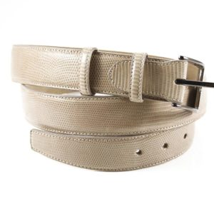Cintura in Vera Pelle di Lucertola color sabbia