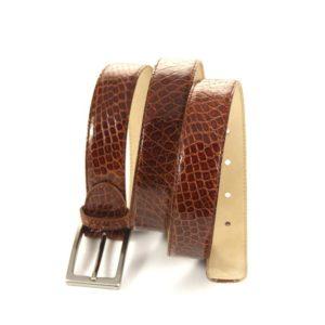Cintura in Vera Pelle di Coccodrillo color whisky