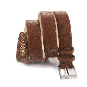 Cintura in Vera Pelle di Razza color castagna
