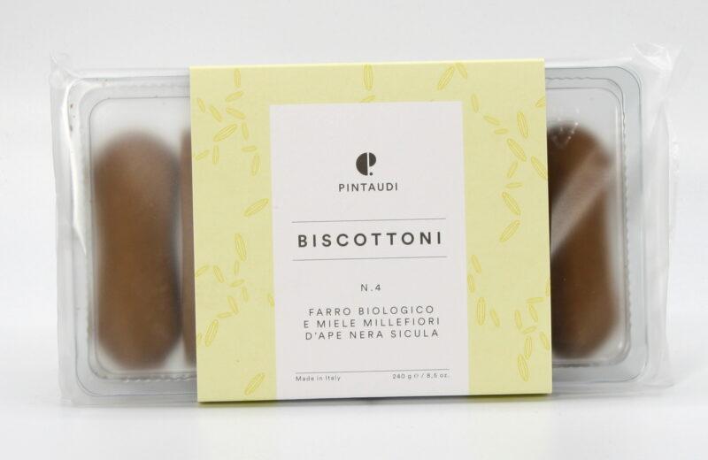 Biscottoni n.4 - Farro Biologico e Miele Millefiori d'Ape Nera Sicula 240 g - Pintaudi