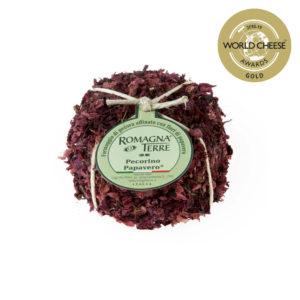 Formaggio di pecora affinato con fiori di papavero prodotto in Italia senza coloranti né conservanti