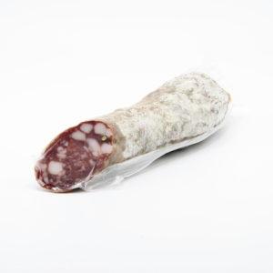 Salame di Mora Romagnola in budello gentile stagionato in cantine ventilate sotterranee