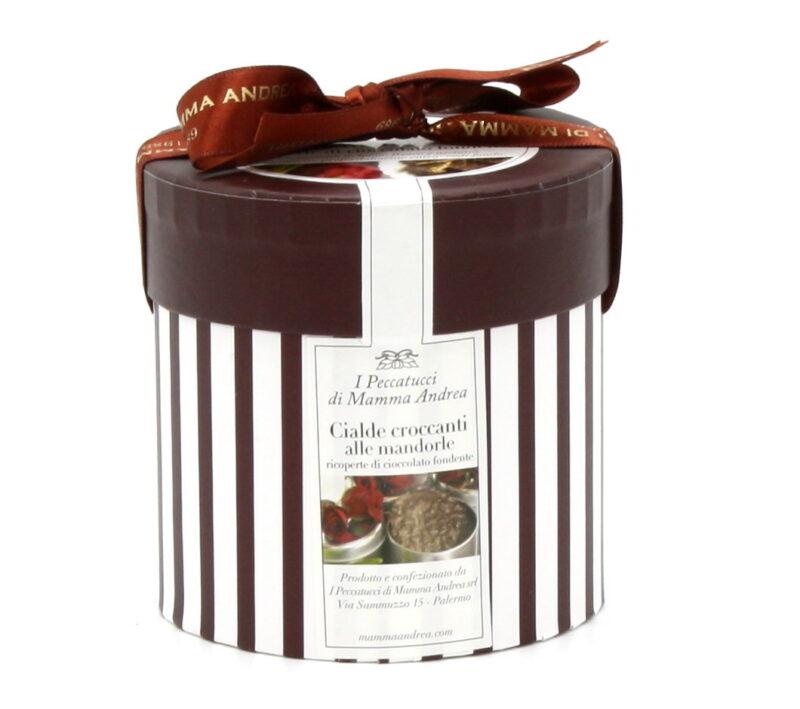 Cialde Croccanti alle Mandorle Ricoperte di Cioccolato Fondente 180 g